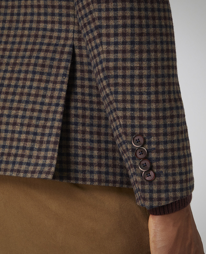 Slim Fit Checked Wool-Blend Jacket