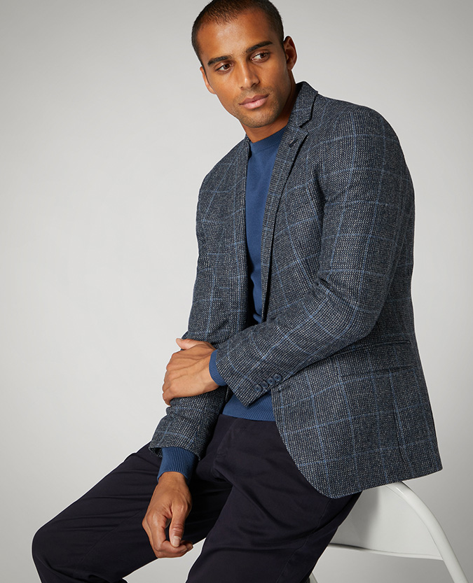 Slim Fit Checked Pure Wool Jacket