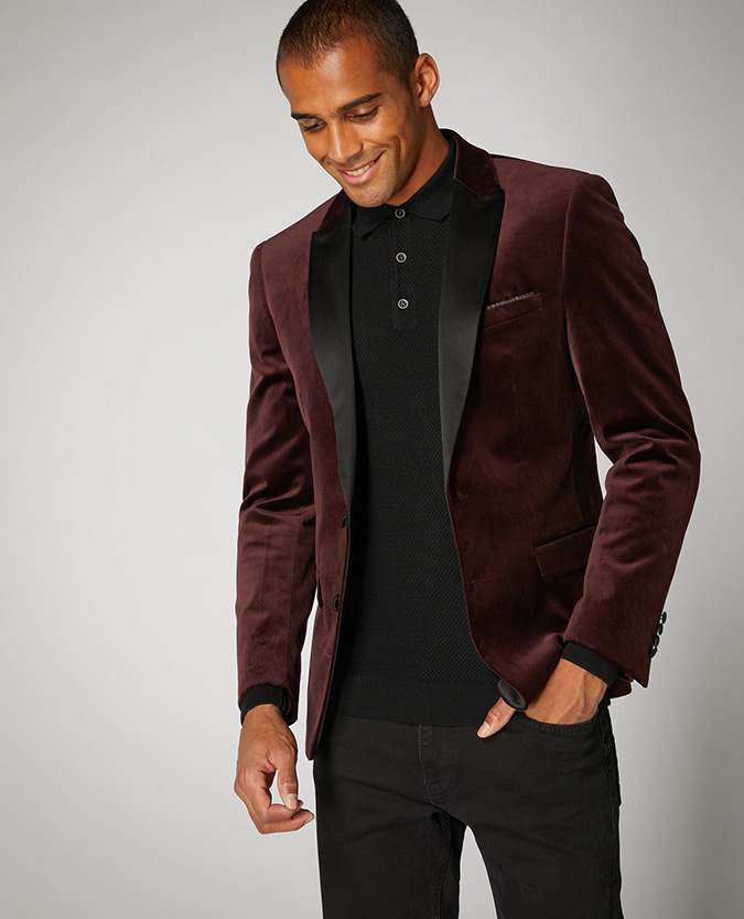 Slim Fit Velvet Jacket