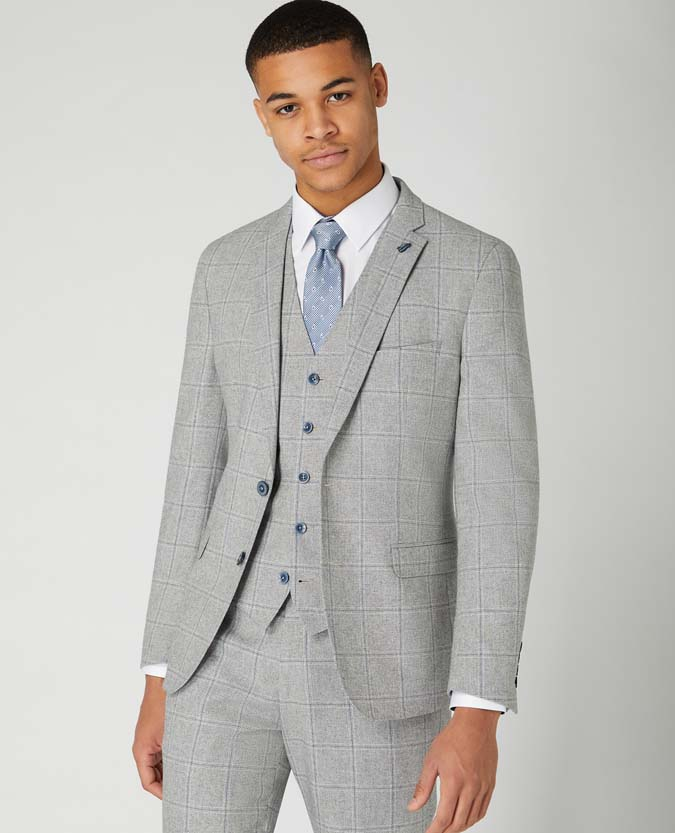 Slim Fit Checked Cotton Blend Jacket