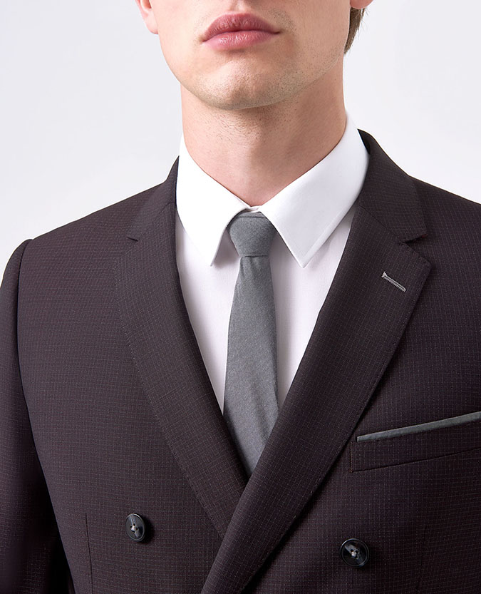 Slim Fit Wool-Rich Microcheck Double Breasted 2 Piece Suit