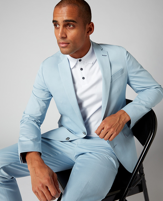 X-Slim Fit Cotton-Stretch 2 Piece Suit