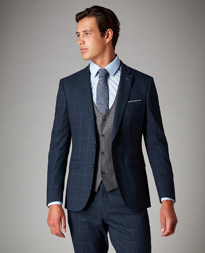 Slim Fit Checked 2 Piece Suit