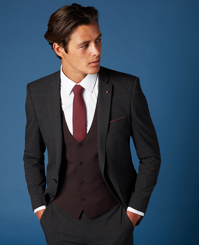 X-Slim Fit Checked 2 Piece Suit