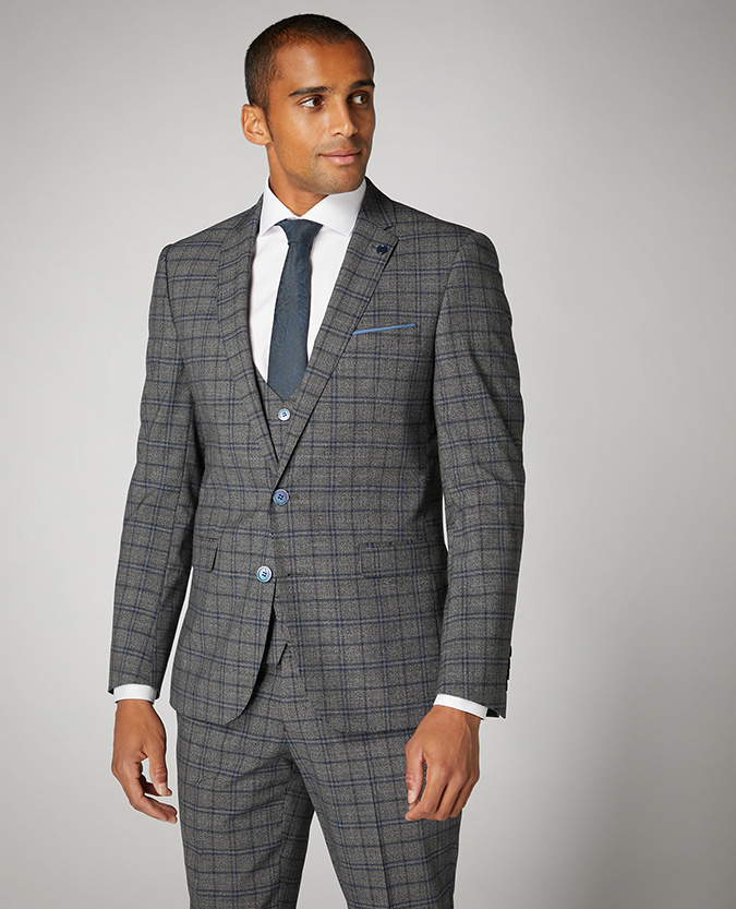 Slim Fit Checked Stretch 2 Piece Suit
