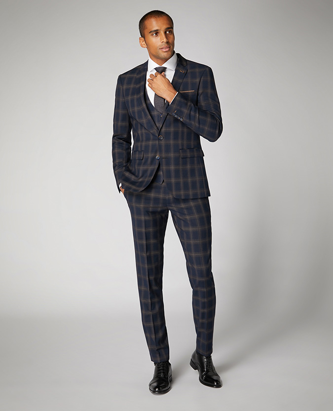 X-Slim Fit Checked Stretch 2 Piece Suit