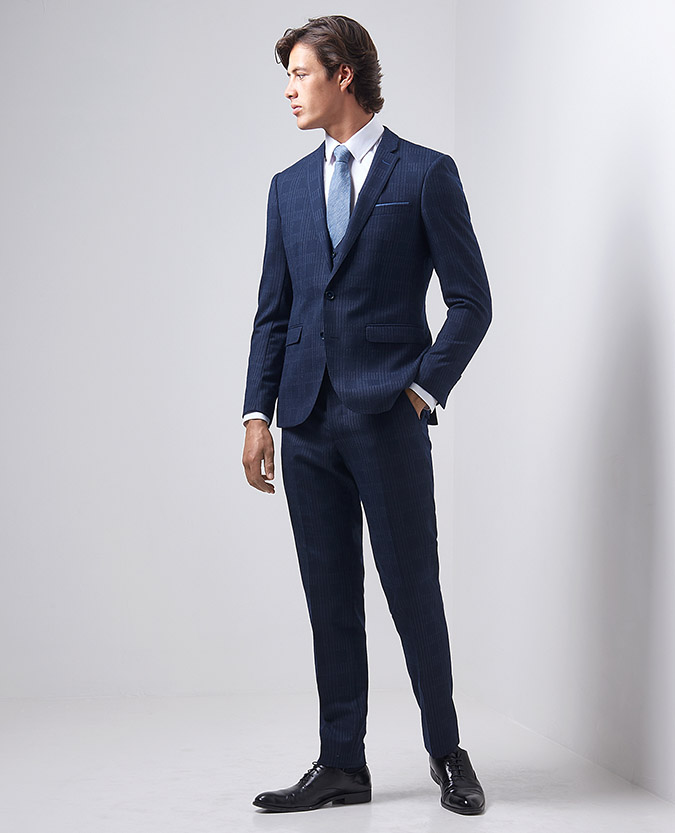 X-Slim Fit Wool-Rich Pinstripe-Check 3 Piece Suit