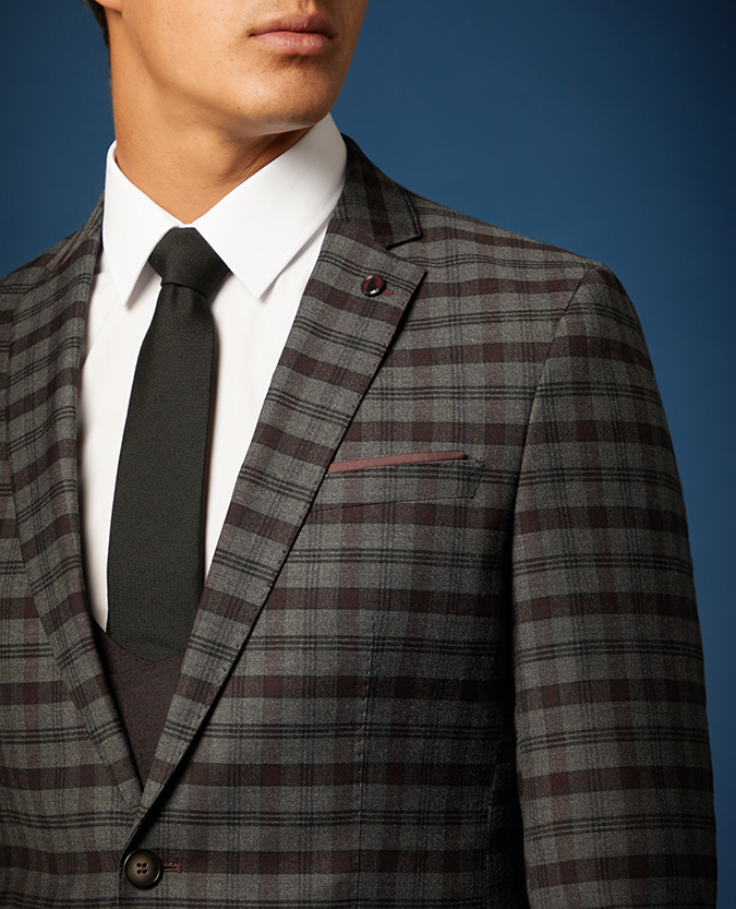 Slim Fit Checked Wool Rich Stretch 3 Piece Suit