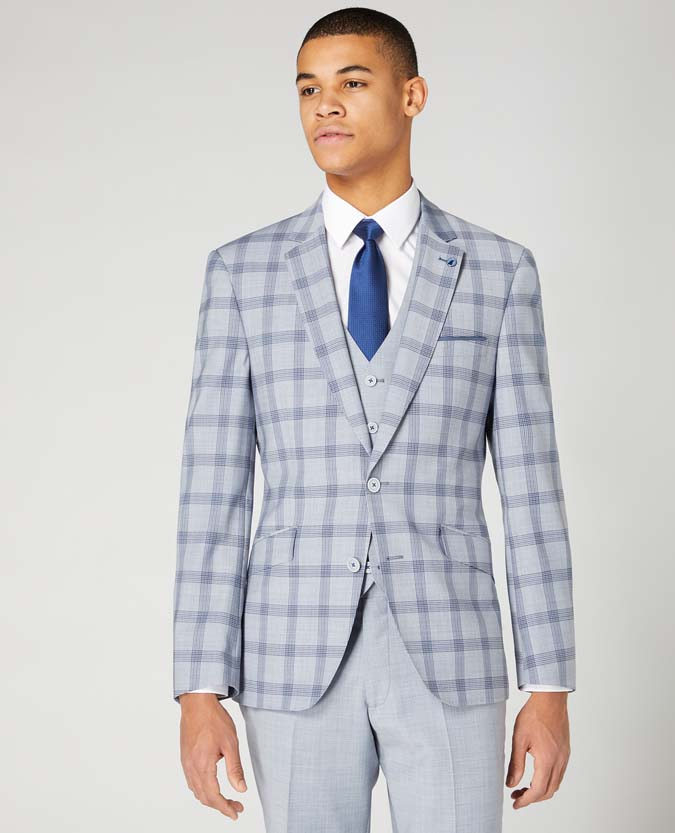 Tapered Fit Wool Blend 3 Piece Stretch Suit