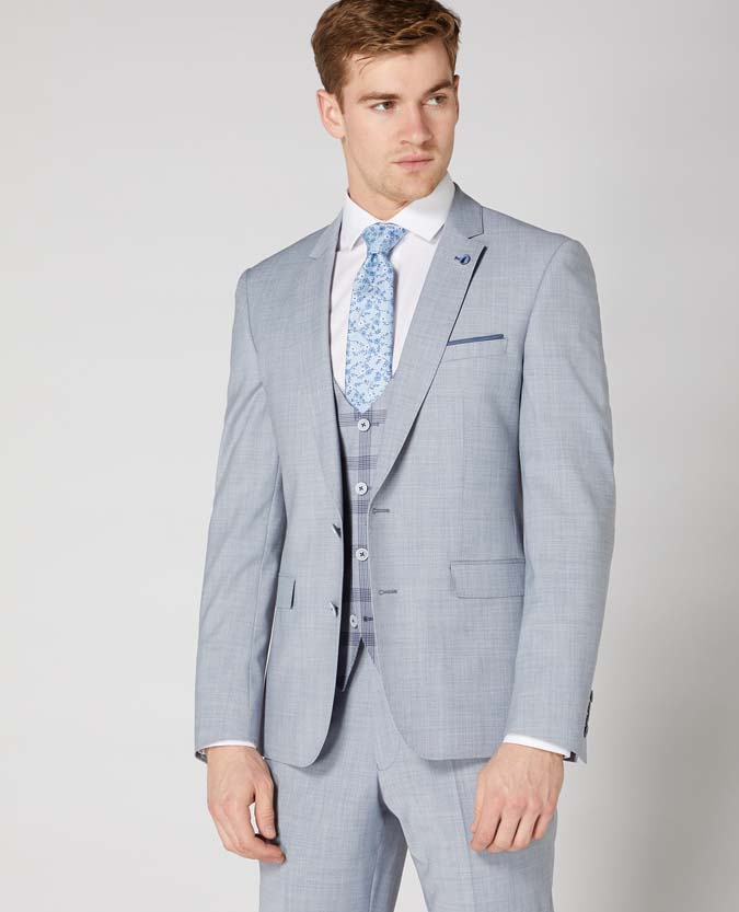 Slim Fit Wool Blend Stretch 3 piece suit