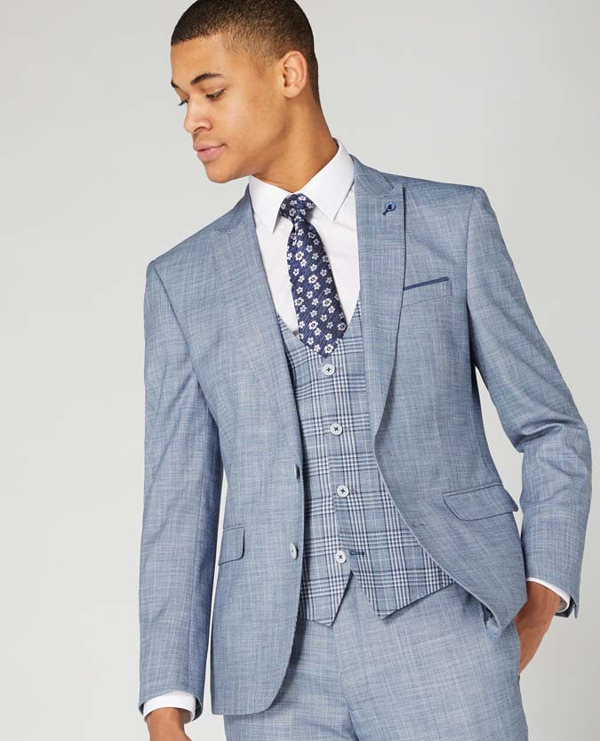 Slim Fit Contrast 3 Piece Suit
