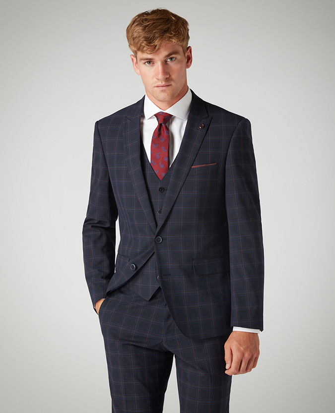 Tapered Fit Checked Stretch 3 Piece Suit