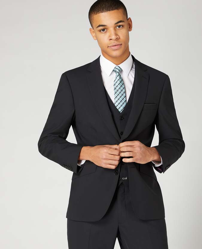 Tapered Fit Wool-Blend Stretch Mix and Match Suit