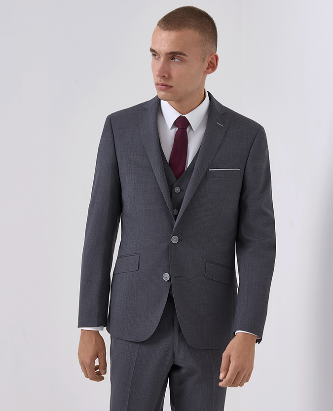 Tapered Fit Micro-Check Wool-Rich Mix and Match Suit