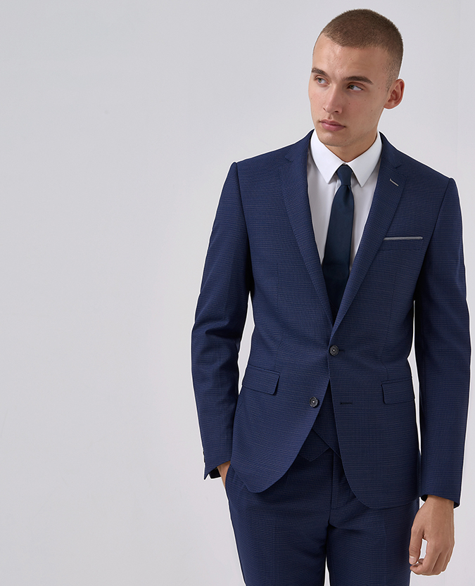 Slim Fit Wool-Blend Stretch Micro-Check Mix and Match Suit