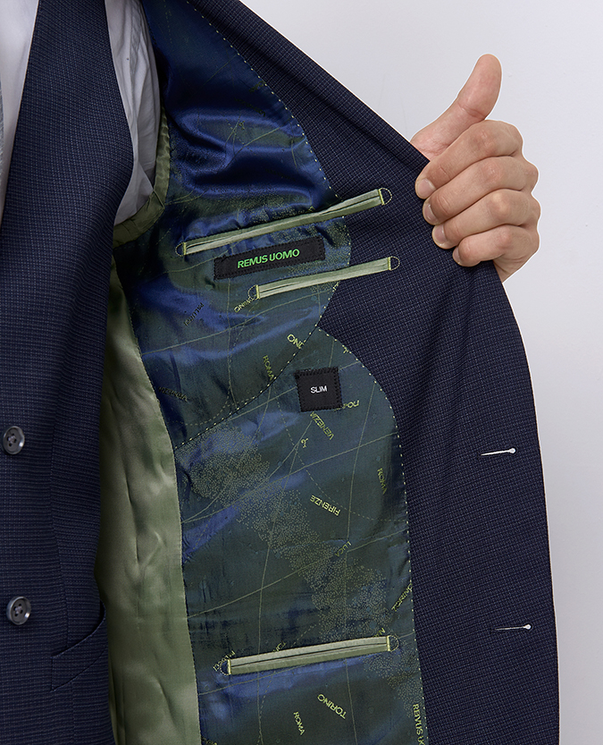 Slim Fit Wool-Blend Stretch Micro-Check Mix and Match