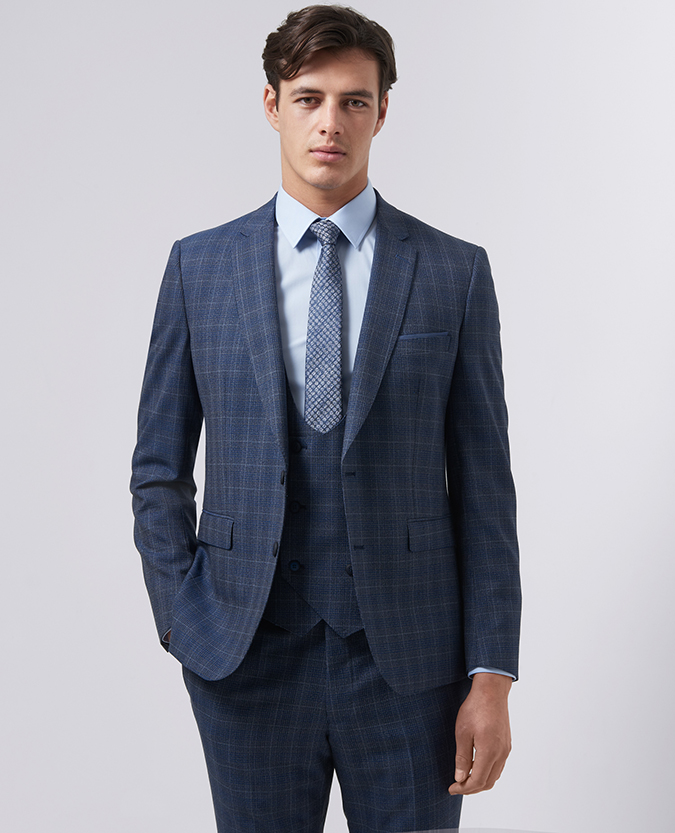 Slim Fit Checked Pure Wool Mix and Match Suit