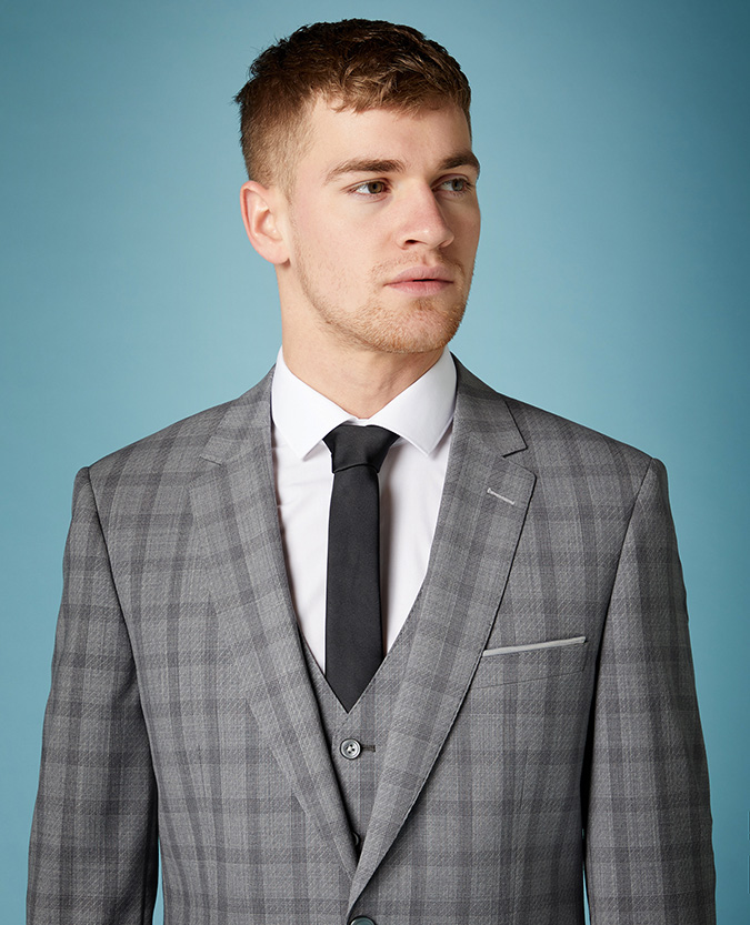 Tapered Fit Checked Wool-Stretch Mix and Match Suit