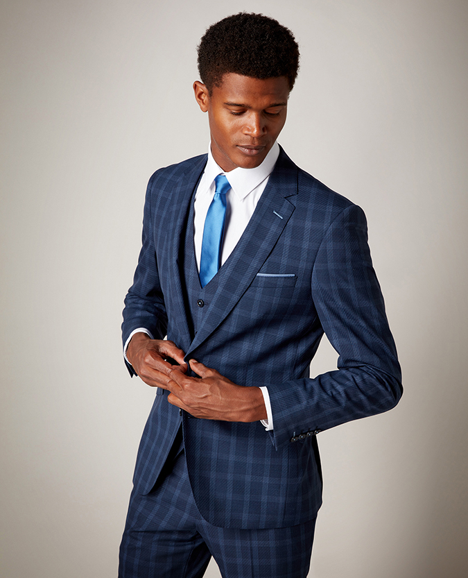 Tapered Fit Checked Wool-Blend Stretch Mix and Match Suit