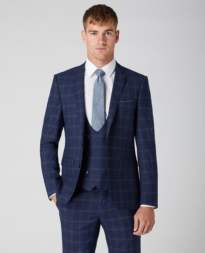 X-Slim Fit Checked Wool Rich Mix and Match Suit