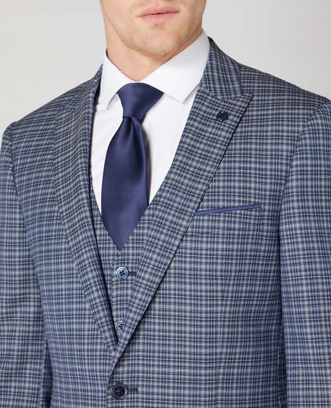 Tapered Fit Checked Wool Rich Mix and Match Suit