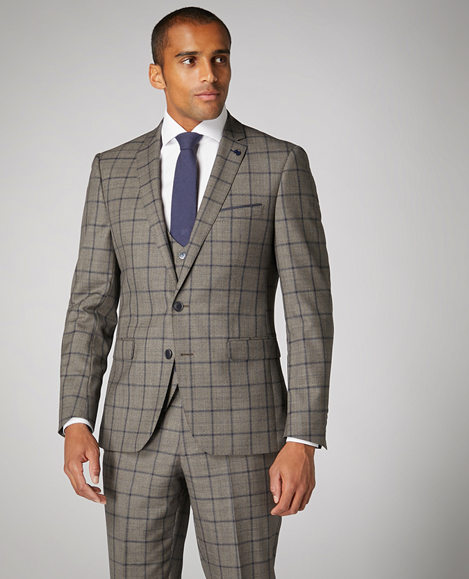 Slim Fit Checked Wool-Blend Mix and Match Suit