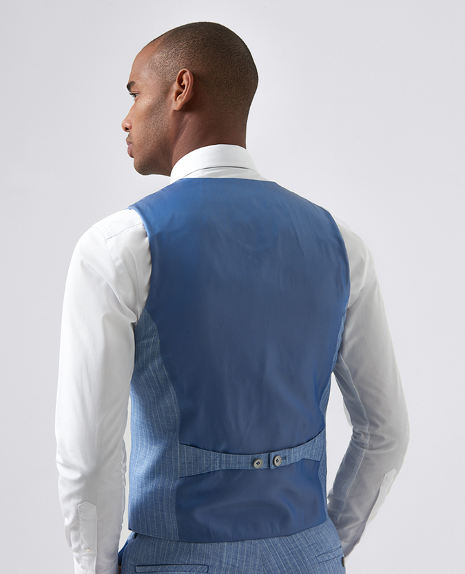 Slim Fit Pinstripe Stretch Waistcoat