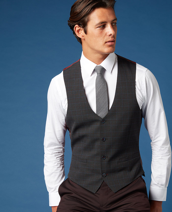 X-Slim Fit Checked Waistcoat