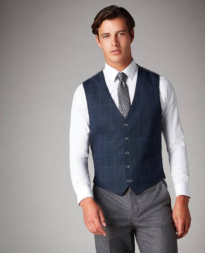 Tapered Fit Checked Waistcoat