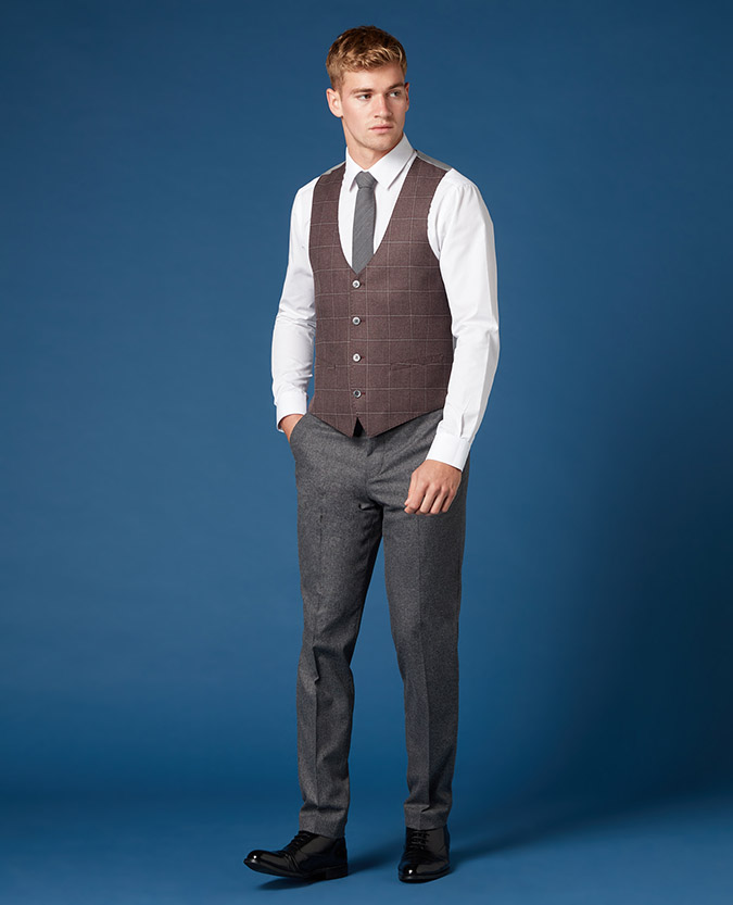 Slim Fit Checked Waistcoat