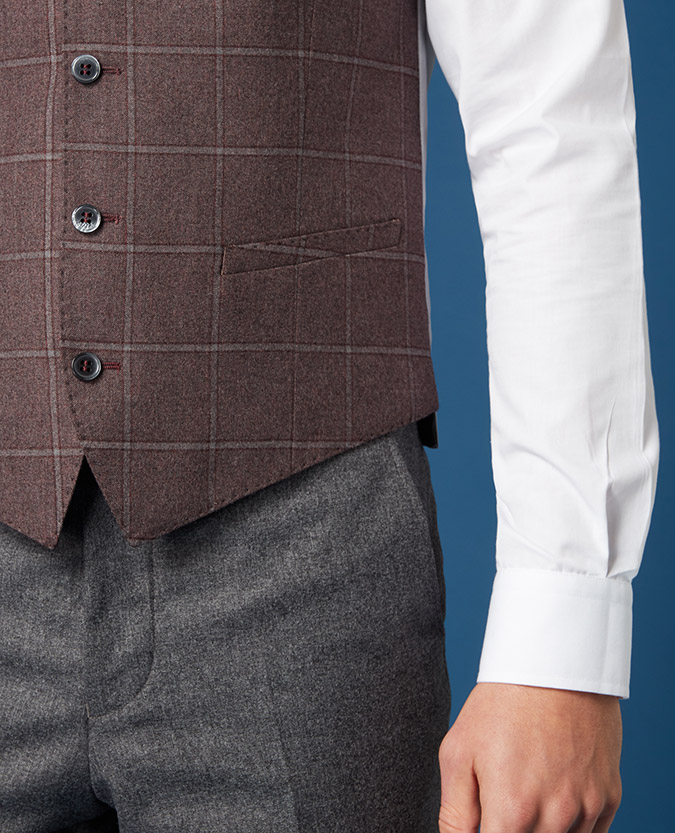 Slim Fit Checked Waistcoat
