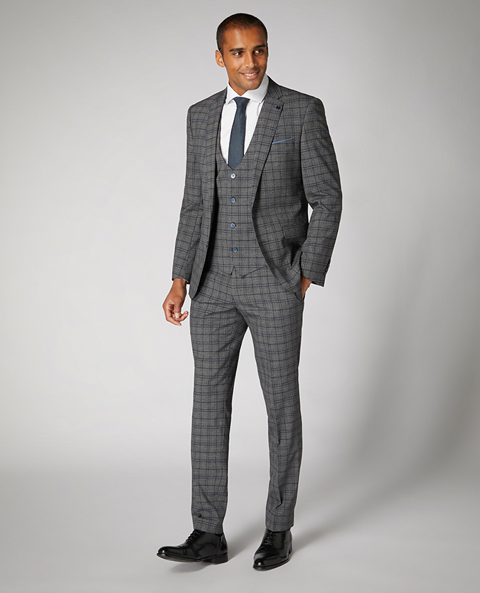 Slim Fit Checked Stretch Waistcoat