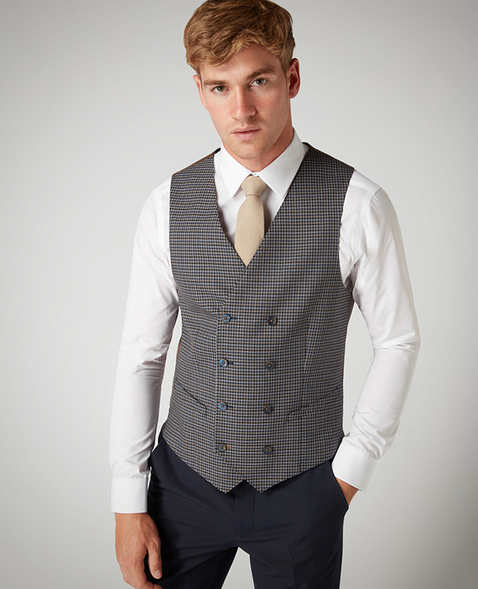 X-Slim Fit Checked Stretch Double-Breasted Waistcoat