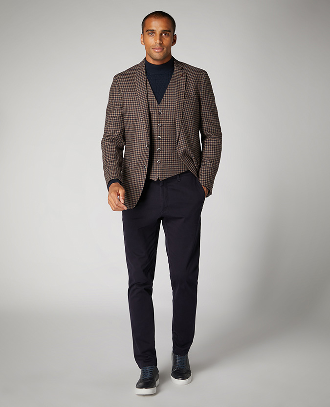 Slim Fit Checked Wool Rich Waistcoat