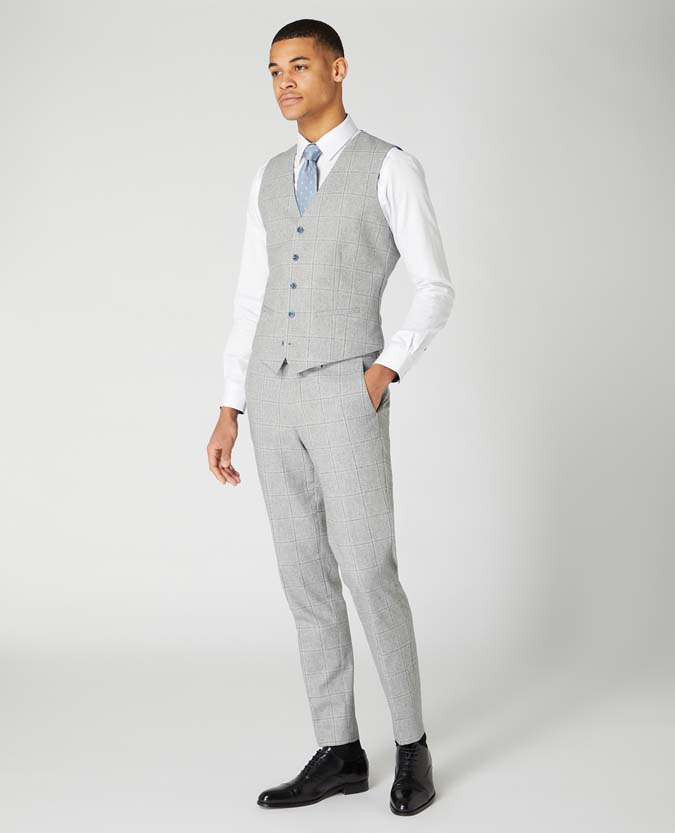 Slim Fit Checked Cotton-Wool Waistcoat