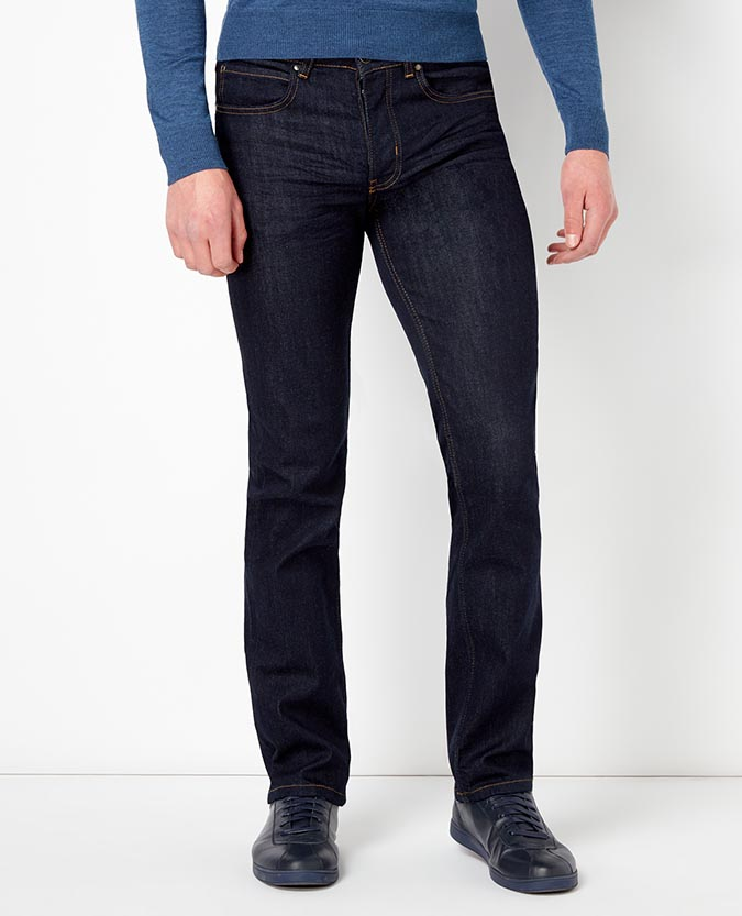Straight Leg Rinse Washed Stretch-Denim Jean