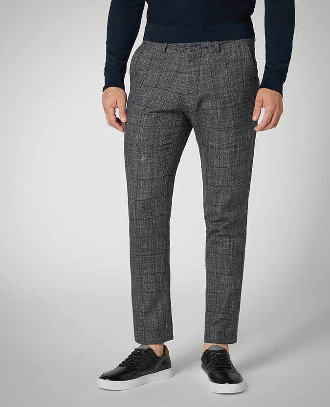 X-Slim Fit Checked Cotton-Stretch Trousers