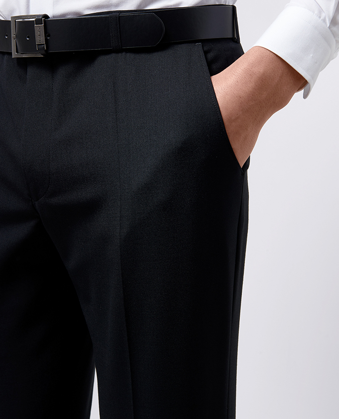 Slim Leg Wool-Blend Stretch Formal Trouser