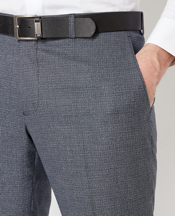 Tapered Fit Microcheck Formal Trouser