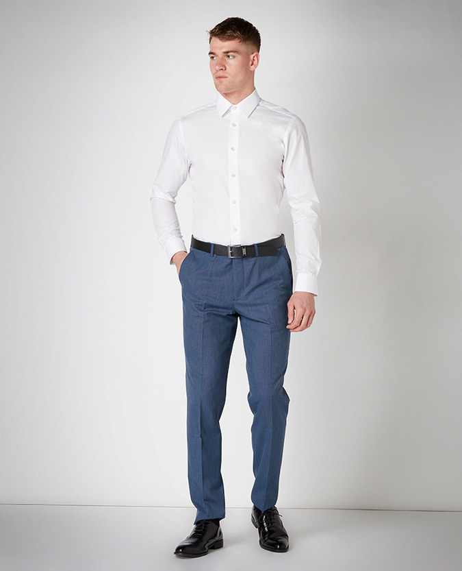 Slim Leg Microcheck Formal Trouser