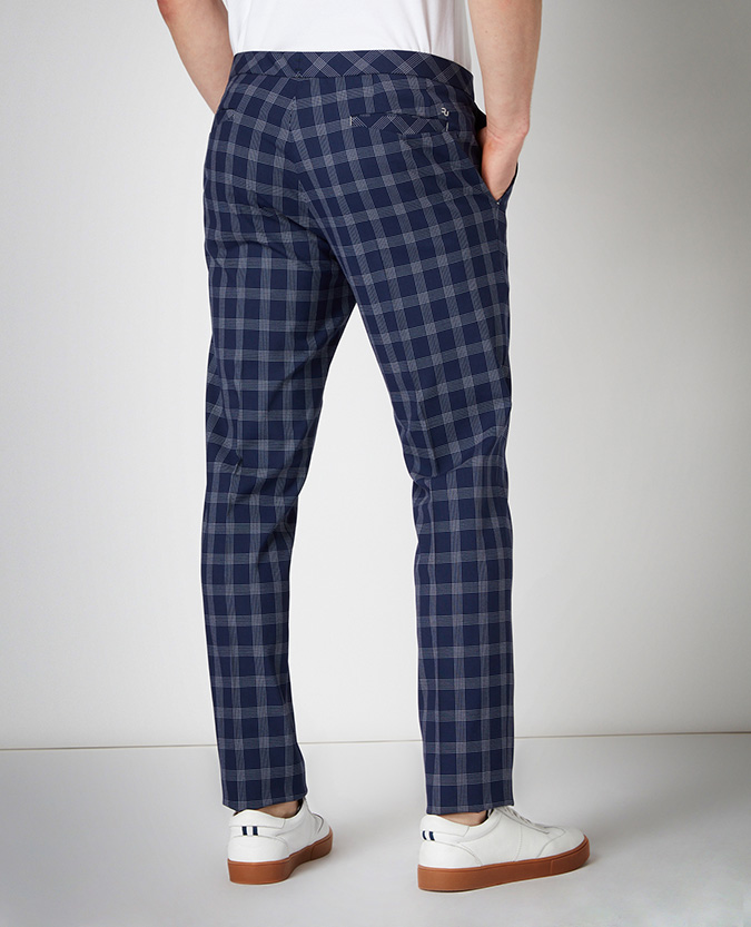 X-Slim Fit Checked Stretch Formal Trousers