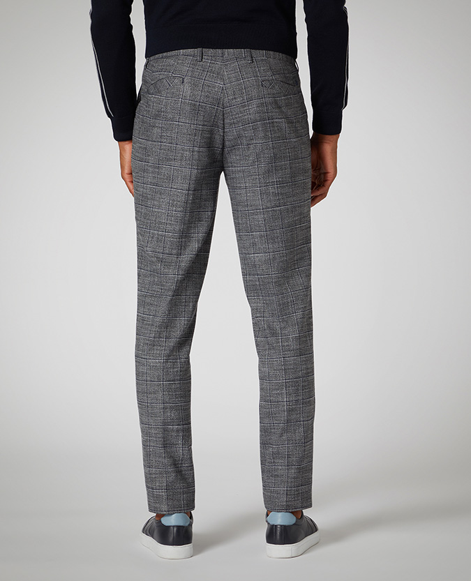 Slim Leg Checked Stretch Formal Trousers