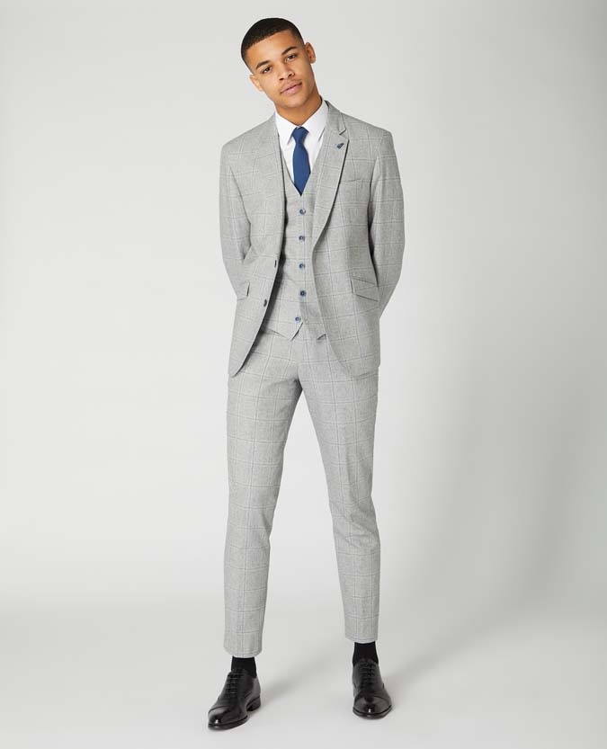 Slim Leg Checked Cotton-Wool Trouser