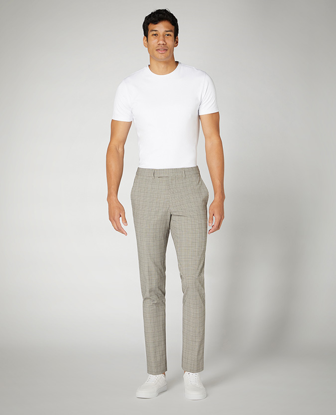 Slim Leg Checked Stretch Trouser
