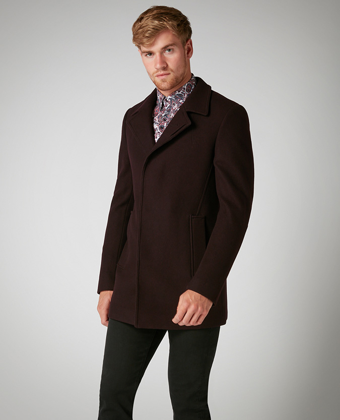 Tapered Fit Wool-Rich Overcoat