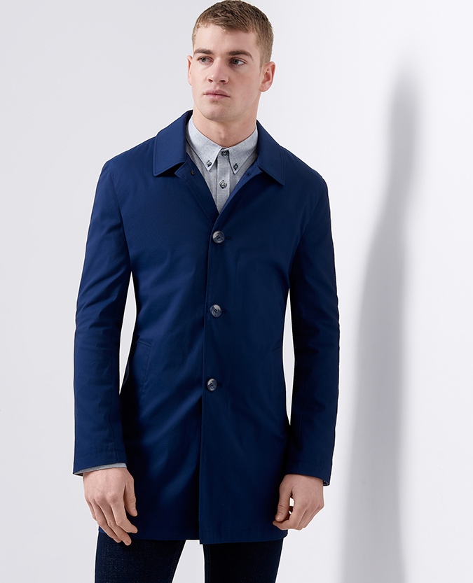 Tapered Fit Cotton-Blend Casual Mac