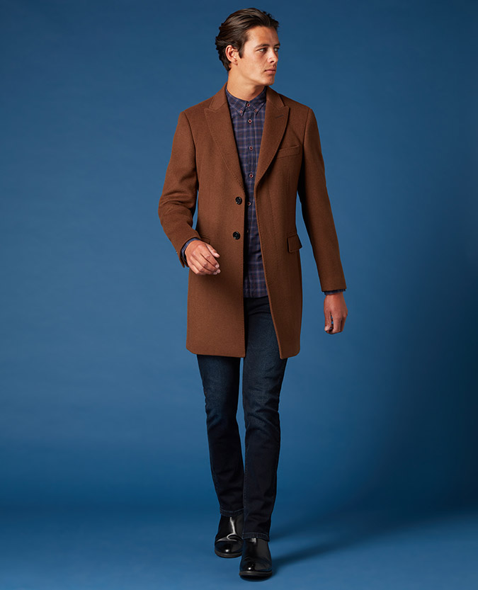 Tapered Fit Wool-Mix Chelsea Overcoat