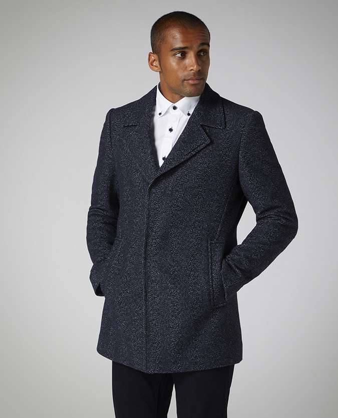 Tapered Fit Cotton-Mix Overcoat